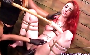 Compelled sub strapon fucked