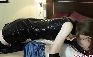 Twosome tgirl fucked with dong mouth gag