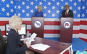 donald trump coupled with hillary clinton fucking bernie sanders coupled with megan kelly in presi