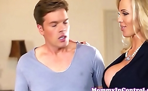 Bigtitted dressed to the nines stepmom doggystyled in trio