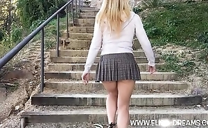 Upskirt no panties relating to Montjuic (Barcelona)