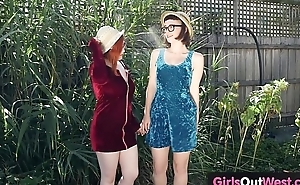 Voluptuous hairy lesbians lick cunts and assholes outdoors