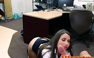 Booty pawnshop babe cocksucking for money