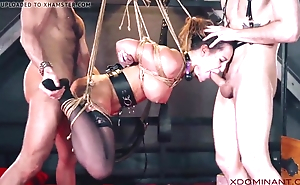 Brunette double permeated at near fetish threesome