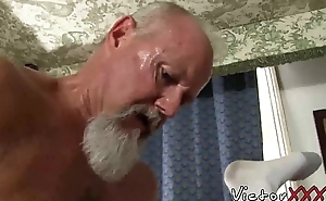 Flimsy dad with piercing likes hard bareback sexual congress with an increment of blowjob