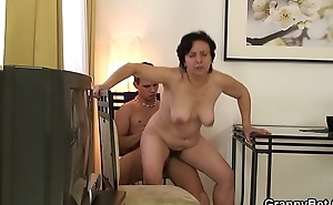 Granny tourist acquires picked up and rides his cock