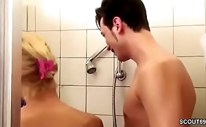 German MILF Seduce to Fuck by Step-Son Obese Dick in Shower